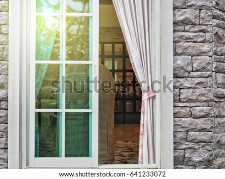 White Aluminum Sliding Glass Window With Green Glass And Curtain. House  Interior Design With Modern