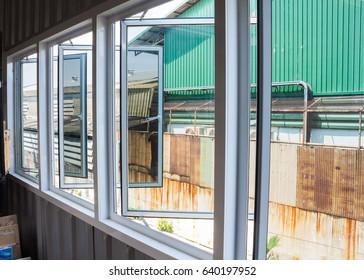 white  aluminum windows frame background.