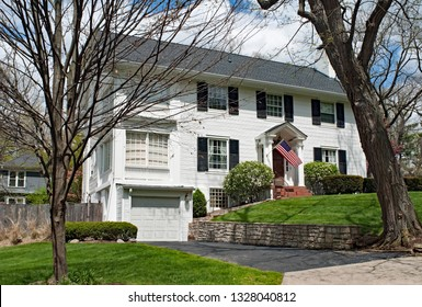 White American Home in Early Spring