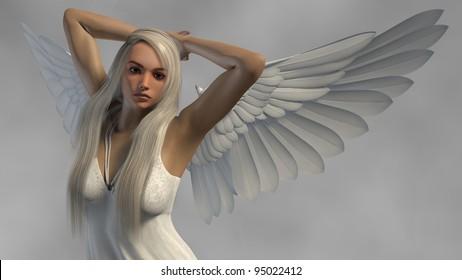 white angel isolated on fog background