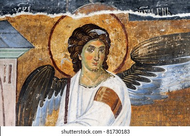 White Angel or Myrrhbearers on Christ's Grave is world famous fresco from the Mileseva monastery circa 1230 AD in Serbia, it depicts an angel sitting in front of the tomb of Christ