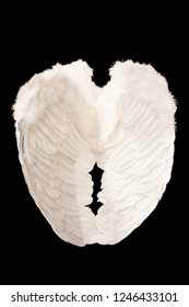 White angel wings plumage isolated on black background with clipping part