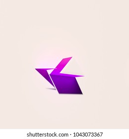 White Angle Up Icon With Pink Shadows. 3D Illustration of White Angle, Arrow, Direction, Up, Upload Icons With Pink and Blue Gradient Shadows.