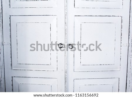White antique cupboard doors, iron round handles in Provence country style. - White Antique Cupboard Doors Iron Round Stock Photo (Edit Now