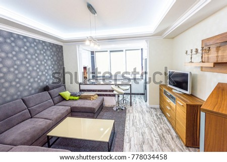 White Apartment Interior Design Living Room Stockfoto Jetzt