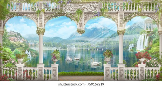White arch with a view of the mountains and swans. Modular panno. Digital fresco.