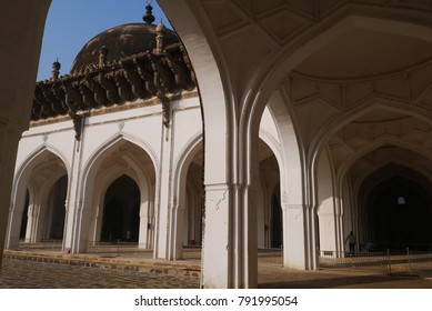 White arches of the mosque of the open Jumma Masjid type in the city of Bidzhapur of the State of Karnataka in India
