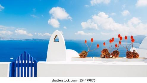 White Architecture and Blue Ocean, Santorini Island, Greece