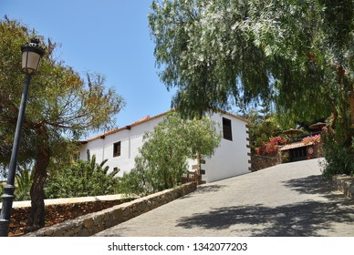 White architecture house in Fuerteventura. Traditional building exterior. Canary Islands, Spain