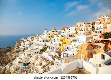 White architecture of Oia village on Santorini island in Greece