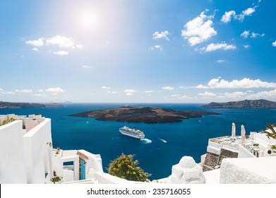 White architecture on Santorini island, Greece.  Beautiful landscape with sea view