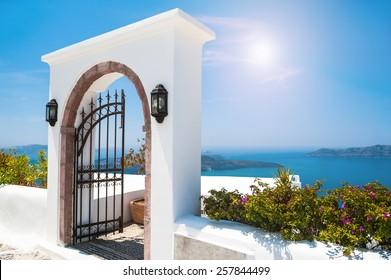 White architecture on Santorini island, Greece. Beautiful view on the sea
