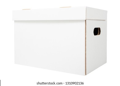 White archive cardboard box isolated on white background. White file box for bookkeeping