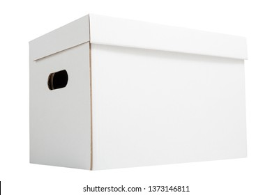 White archive cardboard box isolated on white background. White corrugated carton box for bookkeeping