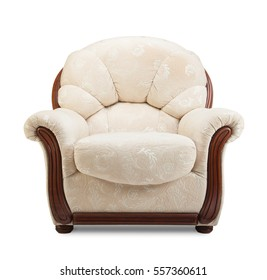 White armchair isolated on white with clipping path