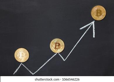 White arrow Bitcoin concept on the blackboard