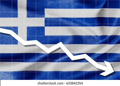 White arrow down on the flag of Greece as background