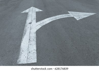 White arrow go straight or turn right