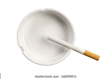 White ashtray and cigarette isolated on white background. Top view