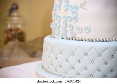White Baby Blue Cake Cross Christening Stock Photo Edit Now 576375424