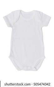 8487218454f1 white baby jumpsuit isolate on white background