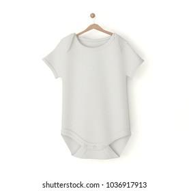 white baby onesie isolated mockup 3d rendering