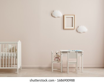 White baby room style, wooden cradle, cabinet and coffee table style.