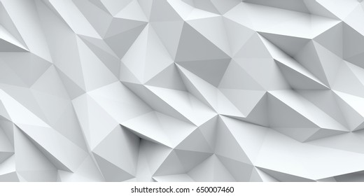 White background. Abstract triangle texture. Low poly 3d illustration.