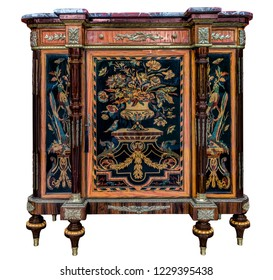 White background of antique cabinet furniture with painting