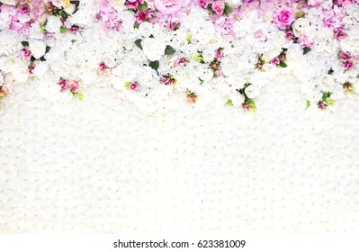 white background with beautiful flower on top