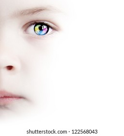 White Background With Beauty Child's Colorful Eye With Map