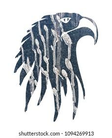 white background blue eagle illustration