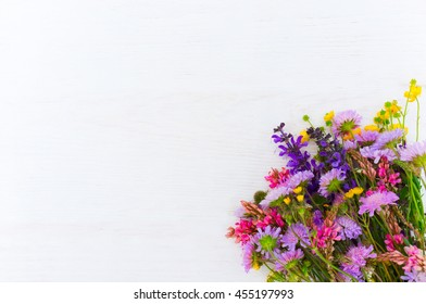 White background with colorful field flowers, copyspace for text or advertisement. Greeting cards, wedding invitations