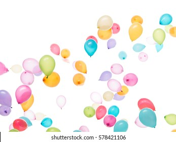 white background a lot of colourful balloons