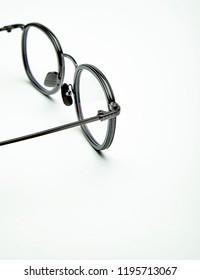 White background detail of flat glasses