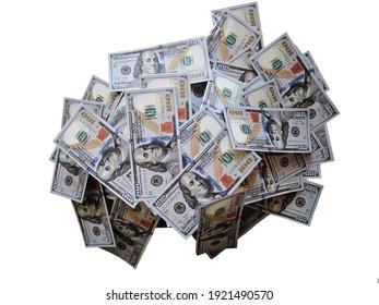White background and dollars. Hundreds of US dollars. One hundred dollars. Money, economy and