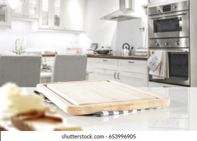 white background of free space in kitchen and wooden desk space