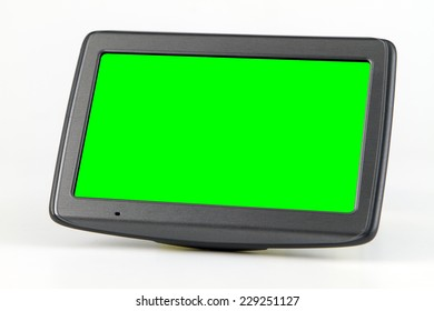 White background, green screen navigation device