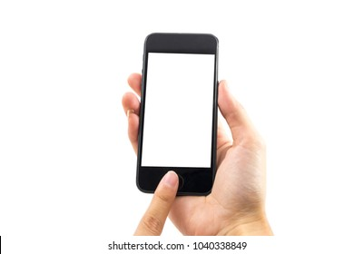 white background hand of caucasian woman hold mobile phone and touch on blank screen with copy space. image for body, technology, communication, gadget, isolated, person, business, telephone concept