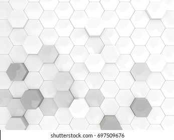 White background with industrial hexagon pattern. 3D illustration