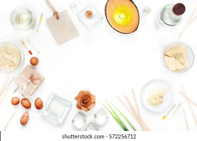 White background with ingredients for natural cosmetic