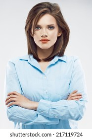 White background isolated portrait of young business woman. Office worker girl.