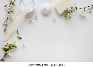 White background with natural cosmetic. Top view.