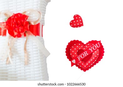 white background with red hearts. The concept of Valentine Day.