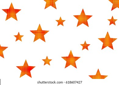White background with red and orange checkered stars