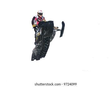 white background snowmobile