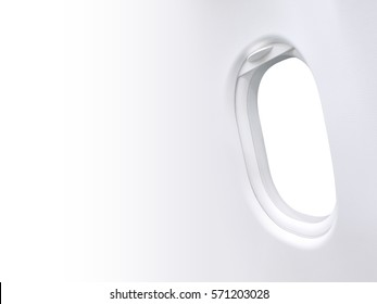 White background in window plane frame and blank space template