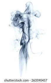 white background,blue smoke