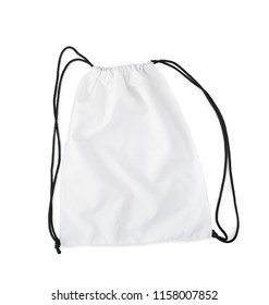 white backpack with black string isolated on a white background