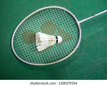 White badminton shuttlecock and racquet on a green court.